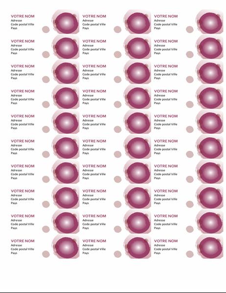 Étiquettes suite rose (30 par page)