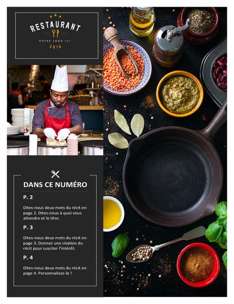 Bulletin d'informations de restaurant