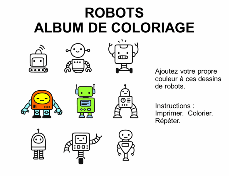 Album de coloriage des robots