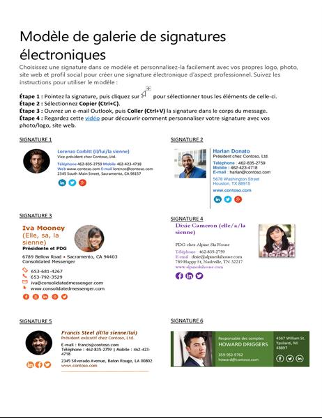 Galerie des signatures électroniques