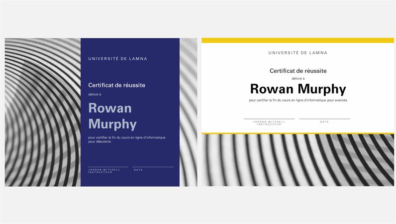 Certificat d'achèvement d'un cours