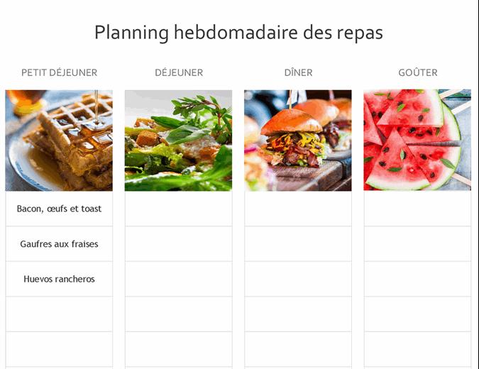 Planning des repas simple