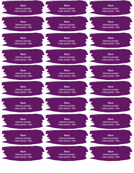 Étiquettes coup de pinceau (30 par page)