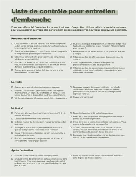 Liste de contrôle pour entretien d'embauche