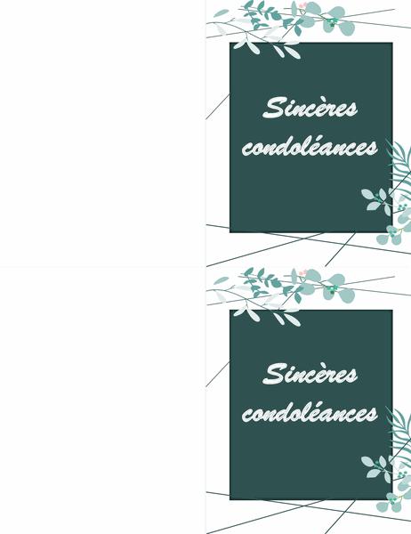 Carte de condoléances verte