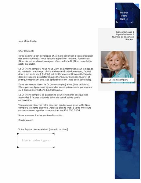 Lettre de présentation pour fournisseur de soins de santé