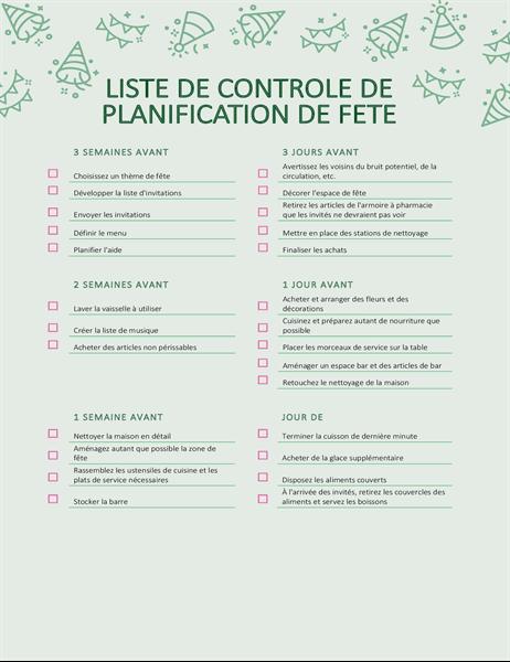 Liste de contrôle Organisation d'une fête