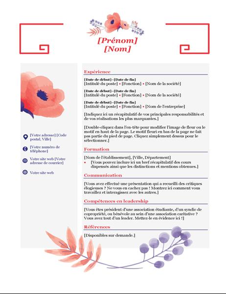 C.V. Fleurs roses