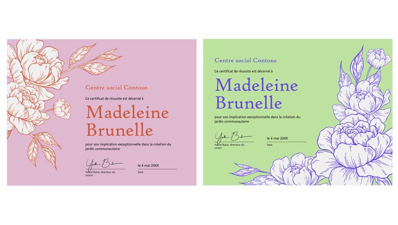 Certificat de réussite «Gravure florale»