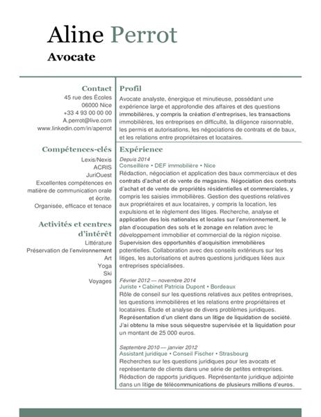 CV de juriste