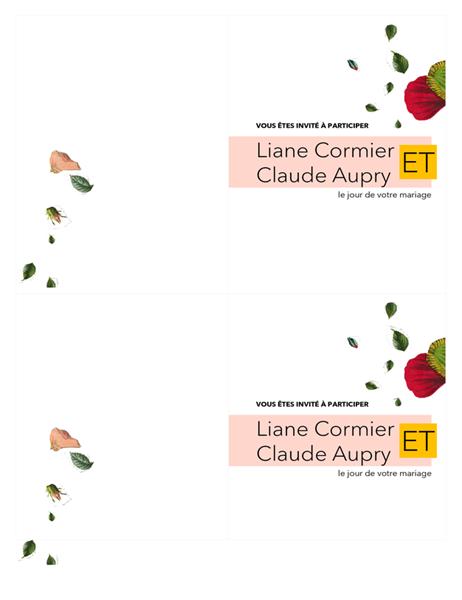 Invitation de mariage florale