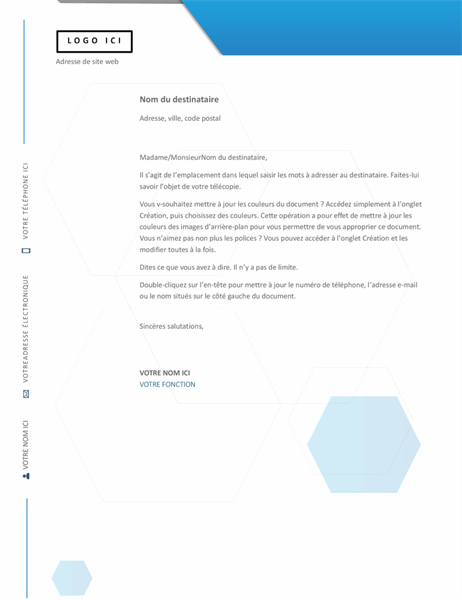 En-tête de lettre hexagone