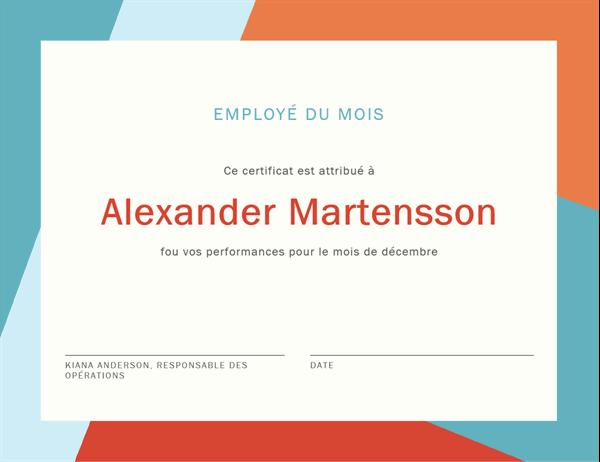 Certificat d'employé du mois