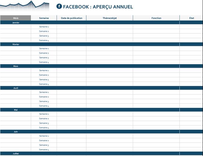 Calendrier éditorial de plateforme de réseau social