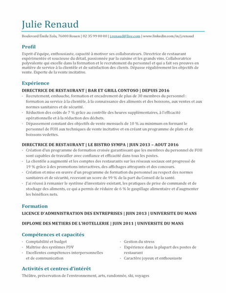 CV de responsable de restaurant