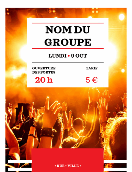 Prospectus de spectacle de groupe rouge