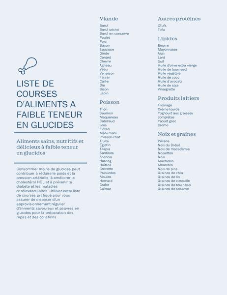 Liste d'achats des aliments à faible teneur en glucides