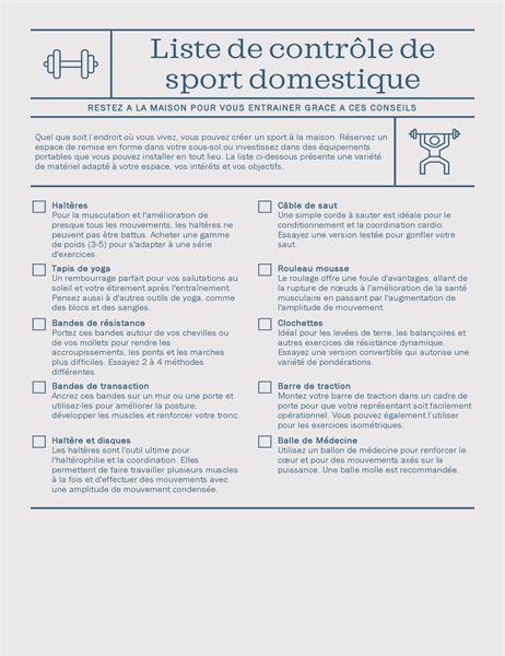 Liste de contrôle pour la gymnastique à domicile