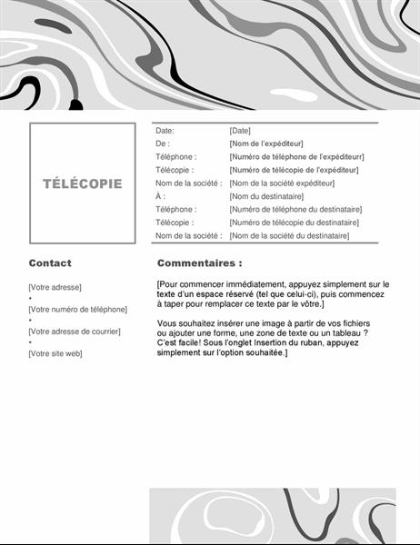 Page de garde de télécopie tourbillon N&B