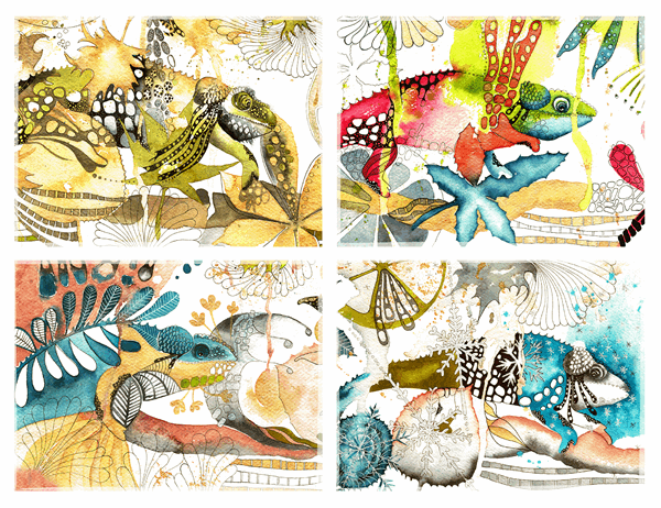 Cartes de vœux avec des caméléons (pliées en quatre)