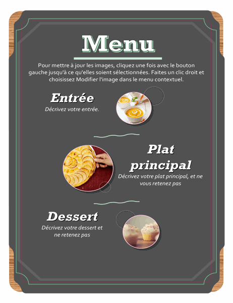Menu photo de base