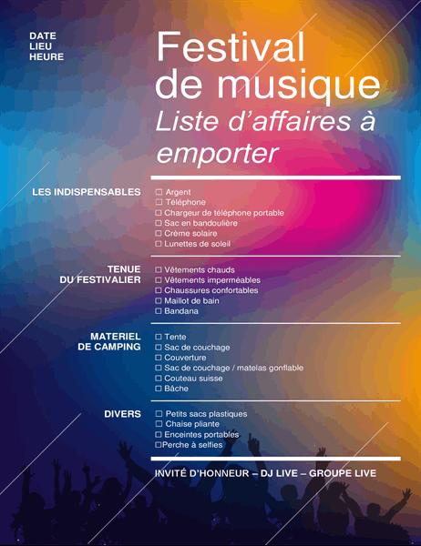 Liste de contrôle pour festival de musique