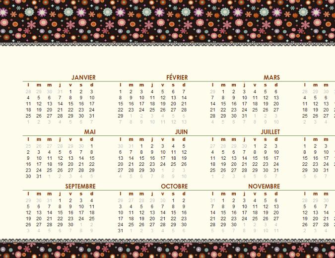 Calendrier perpétuel (Lun-Dim), design floral