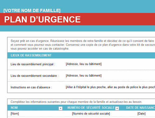 Plan urgence famille