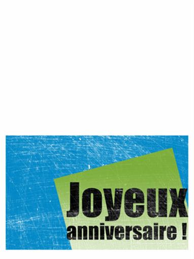 Carte d'anniversaire avec arrière-plan rayé (bleu, vert, deux volets)