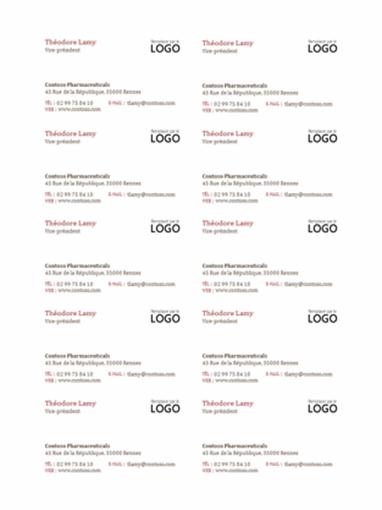Cartes de visite avec logo (10 par page)