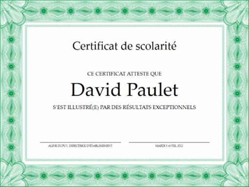 Certificat de scolarité (formel, bordure verte)