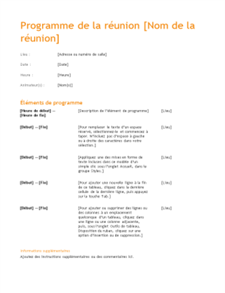 Ordre du jour professionnel (conception orange)