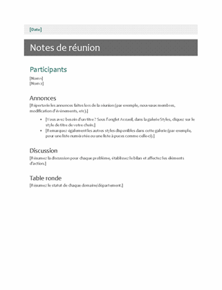 Notes de réunion