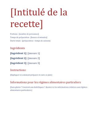 Journal de recettes simple