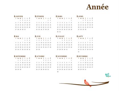 Calendrier annuel oiseaux(lun-dim)