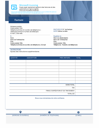 Facture de vente standard avec MicrosoftInvoicing