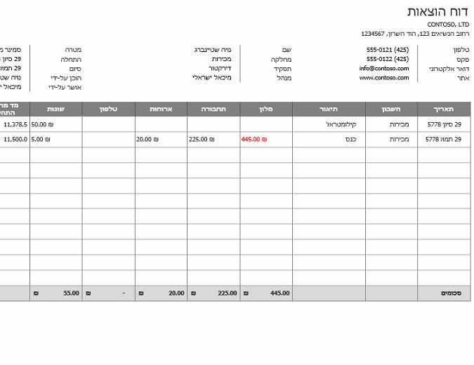 דוח הוצאות עסקיות