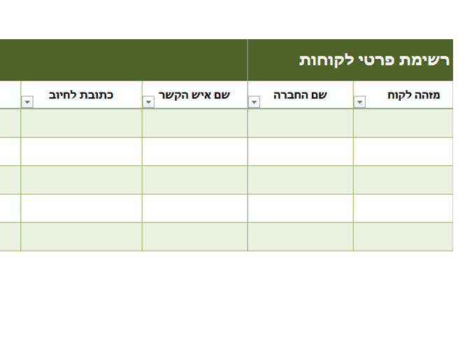 רשימת פרטי לקוחות בסיסית