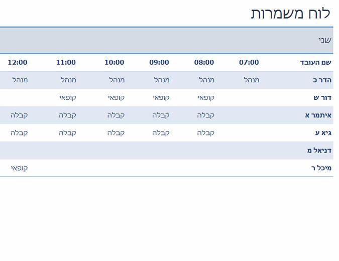 לוח זמנים שבועי של משמרות עובדים