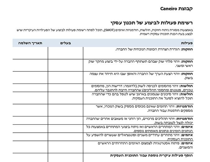 רשימת פעולות לביצוע של תוכנית עסקית