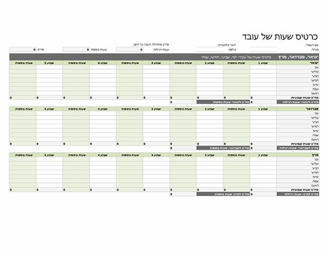 כרטיס שעות של עובד (יומי, שבועי, חודשי ושנתי)