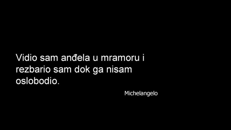 Slajd s Michelangelovim citatom