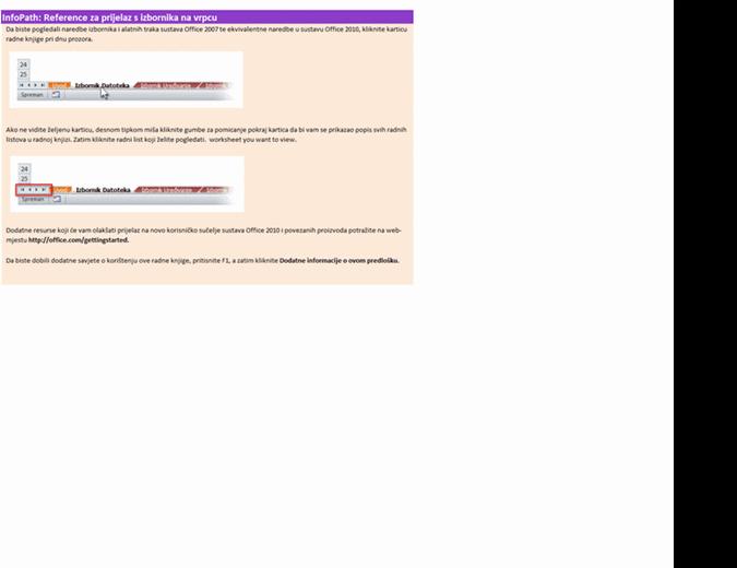 InfoPath 2010: reference za prijelaz s izbornika na vrpcu