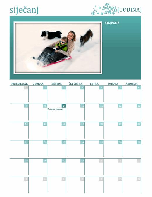 Sezonski obiteljski kalendar (bilo koja godina, od ponedjeljka do nedjelje)