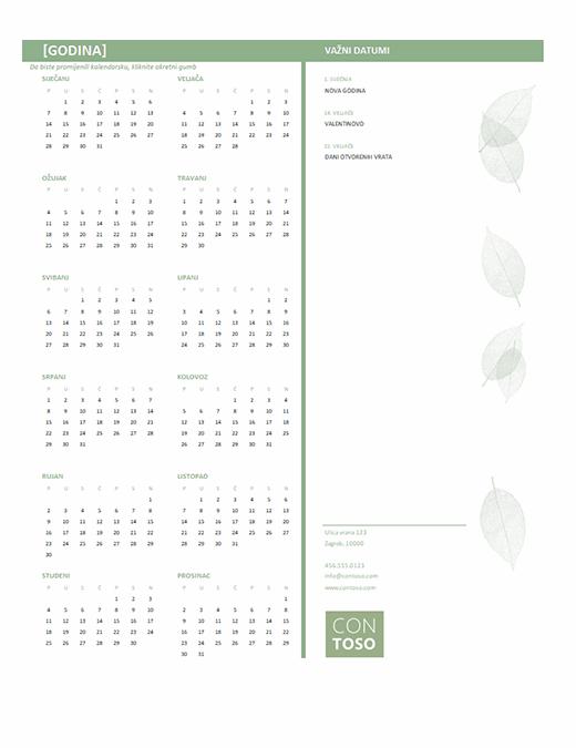 Mali poslovni kalendar (bilo koja godina, od ponedjeljka do nedjelje)