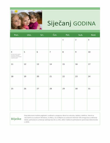 Kalendar s obiteljskim fotografijama (bilo koja godina)