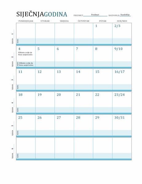 Kalendar plana nastavnog sata