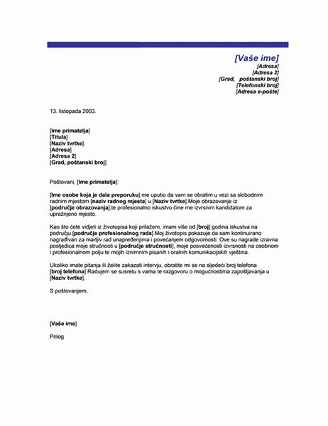 Popratno pismo po preporuci (tema s plavom bojom)
