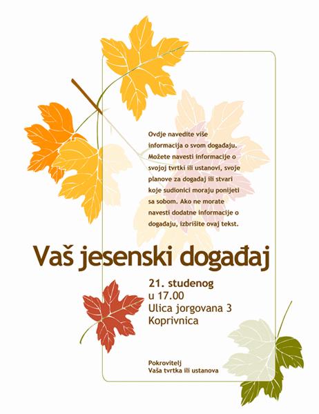 Pozivnica za jesenski događaj (s motivom lišća)