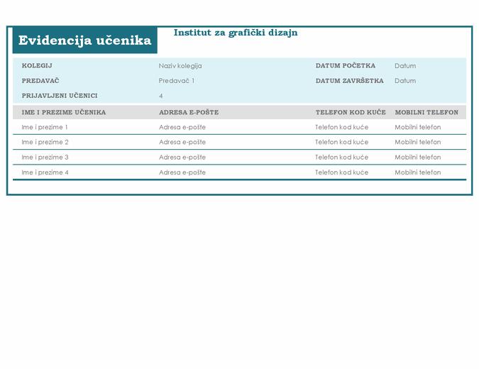 Popis učenika